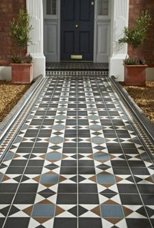 Practical, durable but on trend outdoor tiles from Topps Tiles. Front Garden Path, Front Path, Front Door Steps, Garden Paths, Hall Tiles, Tiled Hallway, Blue Hallway, Victorian Front Garden, Victorian Terrace