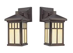 Westinghouse 6732800 Burnham One-Light Exterior Wall Lantern on Steel with Honey Art Glass, Oil Rubbed Bronze Finish (2 Pack, Oil-Rubbed Bronze)