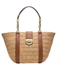MICHAEL Michael Kors Deneuve Straw Tote-- Natural straw with luggage leather accents. Golden chain and leather shoulder straps. Front flap close with lock close. Inside, monogram lining; front zip and two open pockets. Large = 9 x 11 x 6 Medium = 7 x x Michael Kors Coupon, Michael Kors Handbags Sale, Cheap Michael Kors Purses, Michael Kors Purses Outlet, Michael Kors Sale, Michael Kors Bedford, Michael Kors Clutch, Michael Kors Sunglasses, Michael Kors Shoulder Bag