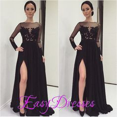Sexy Side Slit Black Chiffon Appliques Tulle Party Pageant Dress Long Sleeves Formal Gowns Prom Dresses