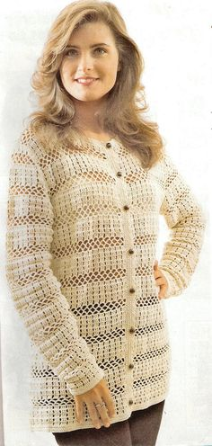 Crochet jacket or sweater with diagram pattern