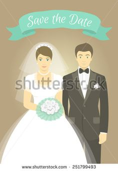 Modern flat stylized illustration of wedding portrait of bride and groom with a decorative ribbon. Bride in wedding dress holds a bouquet. Groom is dressed in a tuxedo with a bow tie