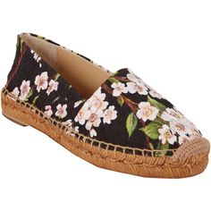 Dolce & Gabbana Cherry Blossom Brocade Espadrilles ($179) ❤ liked on Polyvore featuring shoes, sandals, espadrilles, slip on sandals, espadrilles shoes, woven shoes, black espadrilles and black slip on sandals