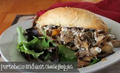 """Vegetarian Philly Cheese """"steaks"""". Portobello and Goat Cheese Hoagies. A delicious health comfort food."""