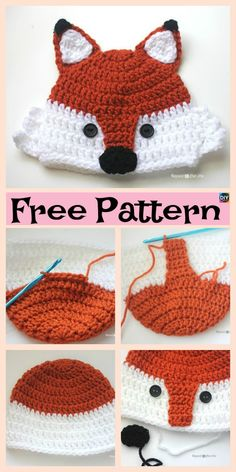 8 Knit & Crochet Fox Hats - Free Patterns Since it is getting colder, we decided to show you how to make these very warm and comfortable Knit/Crochet Fox Hats! There are both knit and crochet design Crochet Baby Beanie, Crochet Kids Hats, Diy Crochet, Baby Knitting, Crochet Ideas, Free Knitting, Knit Hats, Knitting Patterns Free, Crochet Patterns