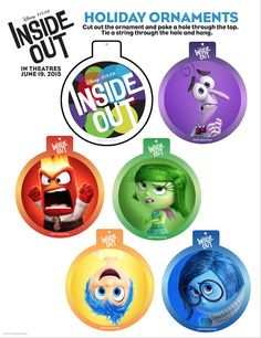 Free Disney Pixar Inside Out Holiday Printables for kids Disney Inside Out, Pixar Inside Out, Movie Inside Out, Christmas Ornament Crafts, Holiday Ornaments, Holiday Crafts, Glass Ornaments, Inside Out Party Ideas, Disney Activities