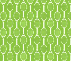 Green Rackets fabric by audreyclayton on Spoonflower - custom fabric Beach Tennis, Tennis Party, Tennis Gifts, Play Tennis, High School Parties, Classic Rock Bands, Geometric Fabric, Rackets, Custom Fabric