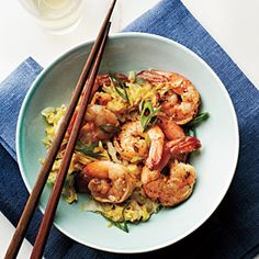 Cantonese-Style Shrimp and Napa Cabbage Recipe :: The Kid digs shrimp.  It's not my favorite, but I'm trying to work it in more.