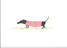 a Black Sausage in a knitted jumper #dachshund #illustration  www.gingerandblou.com Coming Soon