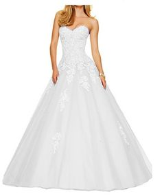ANGELA Womens Sweetheart Lace Beaded Long Quinceanera Prom Dresses White 12 ** Read more reviews of the product by visiting the link on the image-affiliate link. #WomenDresses