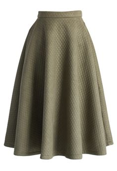 Quilted Midi Skirt in Olive