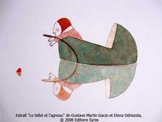 Illustration from  Le bebe et l'agneau by Elena Odriozola