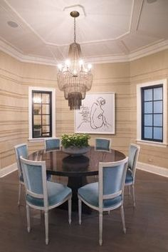 Walls by Anna Wolfson.  Chairs from 1st Dibs, Custom dining table and a painting from Francine Turk.