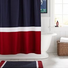 PB Teen Colorblock Shower Curtain, Navy/Red at Pottery Barn Teen -... ($59) ❤ liked on Polyvore featuring home, bed & bath, bath, shower curtains, red shower liner, navy shower curtains, navy blue shower curtains, pbteen and red shower curtains