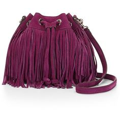 Rebecca Minkoff Suede Fringe Mini Fiona Bucket (€245) ❤ liked on Polyvore featuring bags, handbags, shoulder bags, mini purse, drawstring handbags, bucket purse, fringe handbags and mini shoulder bag