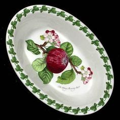 Portmeirion Pomona Oval Baking Dish 11 Inch HOARY MORNING APPLE