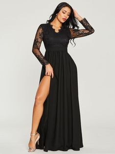 44c2427413d Floor-Length Long Sleeve V-Neck Regular Pullover Dresses Black Maxi Evening  Dress