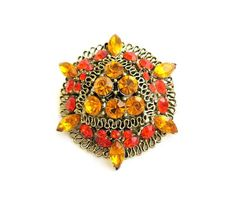 Vintage Brooch orange and amber rhinestones by popgoesmyvintage, $24.00