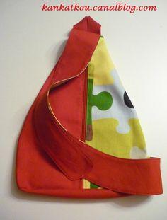 Sac à dos en bandoulière à réaliser vous-mêmes - KanKatKou Sling Backpack, Pouch, Backpacks, Sewing, Fabric, Pattern, Bags, Sachets, Genre