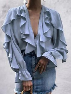 Fashion Pure Color Lotus Edge Shirt – ebuytide blouses for women chic blouses for women casual blouses outfit cute blouses blouses for women work business casual Cute Blouses, Blouses For Women, Bluse Outfit, Shirt Outfit, Shirt Bluse, Tunic Shirt, Ruffle Shirt, Chiffon Ruffle, Chiffon Tops