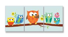 The Kids Room By Stupell Set Of 3 Rectangle Wall Decor, Owls On Branch Part 2 Designer Prints And Wall Art For Kids Room by The Kids Room by Stupell The Kids Room by Stupell