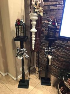 Can Lanterns, Wooden Lanterns, Diy Laterns, Spindle Crafts, Wood Crafts, Christmas Yard, Christmas Crafts, Christmas Lanterns, Cheap Candle Holders