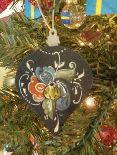Norwegian Rosemaled Christmas Ornament. $10.00, via Etsy.