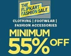 New Flipkart Fashion Sale Minimum 55% Discount on a big range of Clothing, Footwear etc for Men, Women & Kids. Running as Republic Day sale from 23rd to 26th Jan 15. You can buy apparels, footwears, watches, bags, perfumes, sunglasses, accessories etc and save huge. All with Free Shipping & COD options. See more details below.