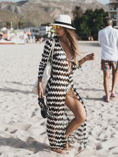 saída de praia longa preta e branca - moda praia / beachwear