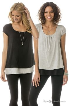 This double layered nursing top looks amazing on any shape.  A top you'll want in every color!  The color-blocking looking is adorable!  Discreet nursing access can be found by lifting up the top layer. Just what every woman needs whether it's before, during, or after pregnancy!  Feature cute cap sleeve and cute front pleat detail....