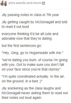 I love this because it shows that lily has a sense of humor,she is always portrayed as a stick in the mud,but I think she was okay with braking the rules sometimes and having fun,people forget she was like a morauder.i like to imagine her a lot like book Ginny