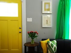 I'm loving the yellow door and green curtains. Inside Doors, Room, Living Room Green, Living Room Entrance Ideas, Yellow Doors, Home, Colourful Living Room, Living Room Grey, Green Living