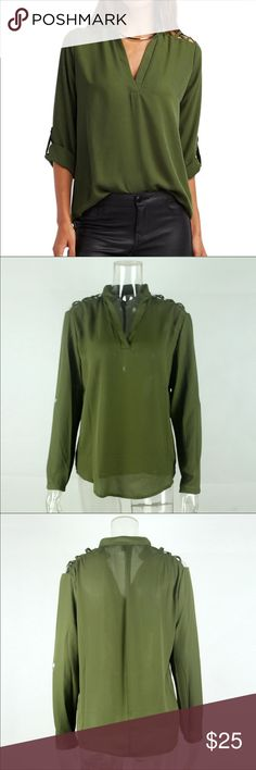 🆕 Army Green Criss-Cross Shoulder Blouse Brand new with no tags Tops Blouses