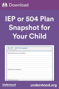 Help kids understand their IEP or 504 plan with this printable one-page snapshot. Your child can use it to self-advocate for accommodations and more. Education For All, Special Education, I School, School Stuff, 504 Plan, Adhd Odd, Intervention Specialist, Iep Meetings, Auditory Processing