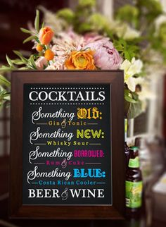 Save on your wedding bar tab with signature wedding cocktails.Get an idea of what to serve at www.abrideonabudget.com.