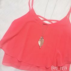 "BOGO 50% • Bright Coral Chiffon Crop Top Beautiful & bright coral chiffon crop top. Two layers of chiffon and adjustable straps. Absolutely perfect condition!  Approx. flat measurements:  ↛ Bust across: 21""  ↛ Length: top of strap to hem: 23"" - this will vary as straps are adjustable  🌸 Free gifts/goodies w purchase of $20+ 🌸 Smoke free home 🌸 Make offers via offer button (consider PM 20% fee) ✖️ NO TRADES PLEASE✖️ Love Culture Tops Tank Tops"