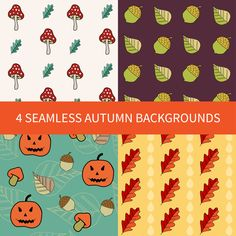 Autumn backgrounds, Seamless pattern in orange, green, brown, yellow. eps, jpeg, instant download. Digital paper pack by annakristal on Etsy