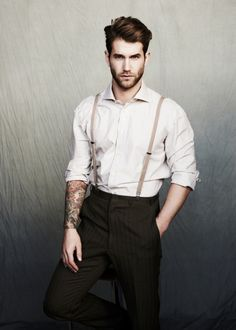 what is it about suspenders and tattoos? Hot and smart lookin....speakin my language baby... Im lovin it