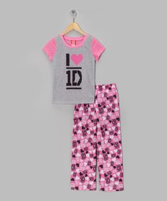 Take a look at this Pink 'I Love 1D' Pajama Set - Girls by Teen Idol: Apparel & Accessories on @zulily today!