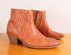 1970s Mod Ankle Boots  Mens 10  Tan Leather Zip by pineapplemint, $54.00