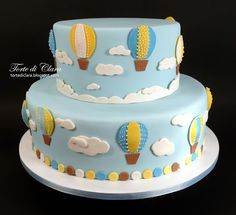 Hot Air Balloon Cake, Cake Designs, Balloons, Birthday Cake, Bolo Fake, Desserts, Biscotti, Disney, Cake Baby