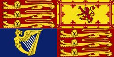 The Royal Standard of the United Kingdom  used in England, Northern Ireland, Wales, and overseas