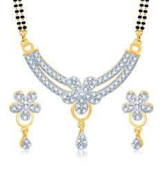 cdf2be0b9b Sukkhi Briliant Gold and Rhodium Plated Cubic Zirconia Stone Studded  Mangalsutra Set (Mangalsutra Mala may vary from the actual image). Snapdeal