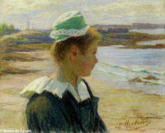 """""""Jeune Concarnoise"""", par Emma Herland (1855-1947). Affiche et catalogue, ce portrait a bien plus au musée. Collection Denise Delouche."""