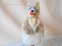 Steiff Wolf Hand Puppet Loopy vintage 1959 – 64, mohair glove puppet wolf, open mouth with teeth & lolling felt tongue Steiff button + label by ShabbyGoesLucky on Etsy