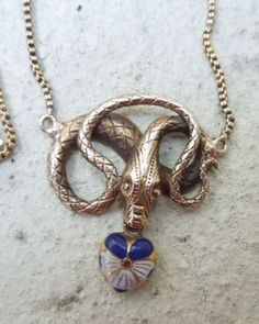 Snake Necklace with Pansy Heart,  Victorian....love vintage snake jewelry