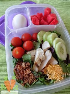 Momma's gotta eat too!Healthy salad packed for lunch. | packed in @EasyLunchboxes containers