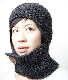 Garter stitch and chic. Looks like the neck warmer could be pulled up to protect chin and mouth - not nose, though.