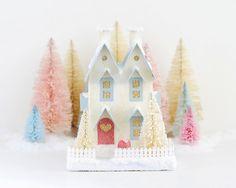 Valentine Putz Glitter House Vintage Style by HolidaySpiritsDecor, $36.00