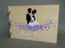Modernes Hochzeitsgästebuch aus Holz